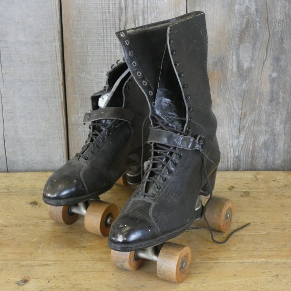 Pair of Antique Leather Boots with Dexter Roller … - image 10