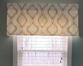 Gathered Mock Roman Rod Pocket Window Treatment in Ivory Linen with Gold Scroll Quatrefoil Embroidery Elegant Living Valance Ready to Ship