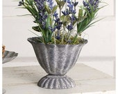 Farmhouse Metal Urn Pot, French Country Urn pot Planter Gray, Small Wedding Decor 3.75 quot h