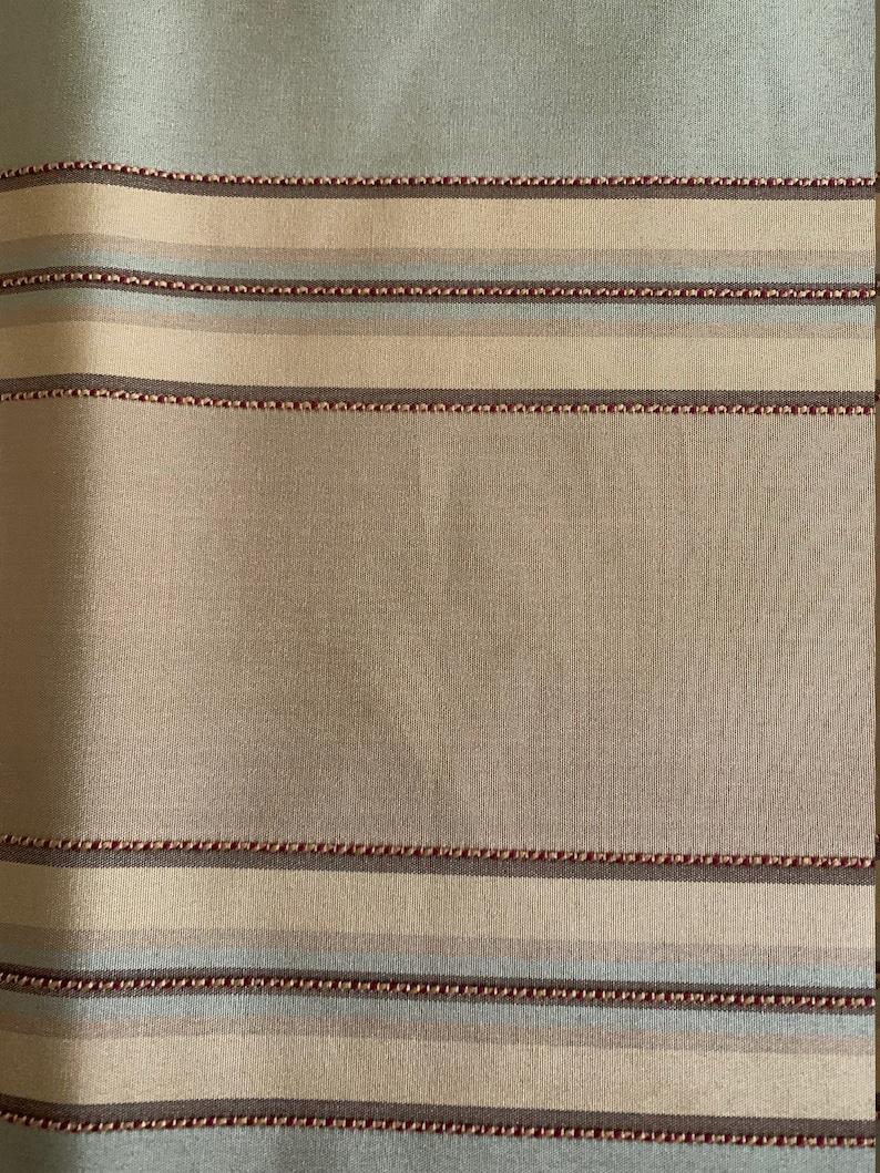 Tan Beige Cheyenne Green Stripe Faux Silk Fabric Table Runner Lined 68l x 14w