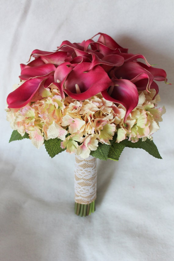 Calla Lily and Hydrangea Silk Wedding Flower Bouquet in | Etsy