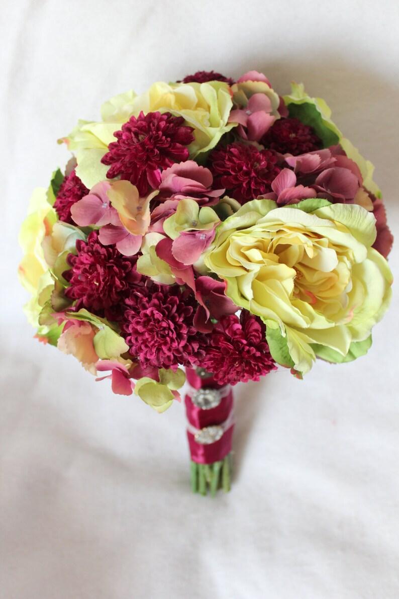 Pale Green and Sangria Silk Bouquet of Garden Roses Pom Pom image 0