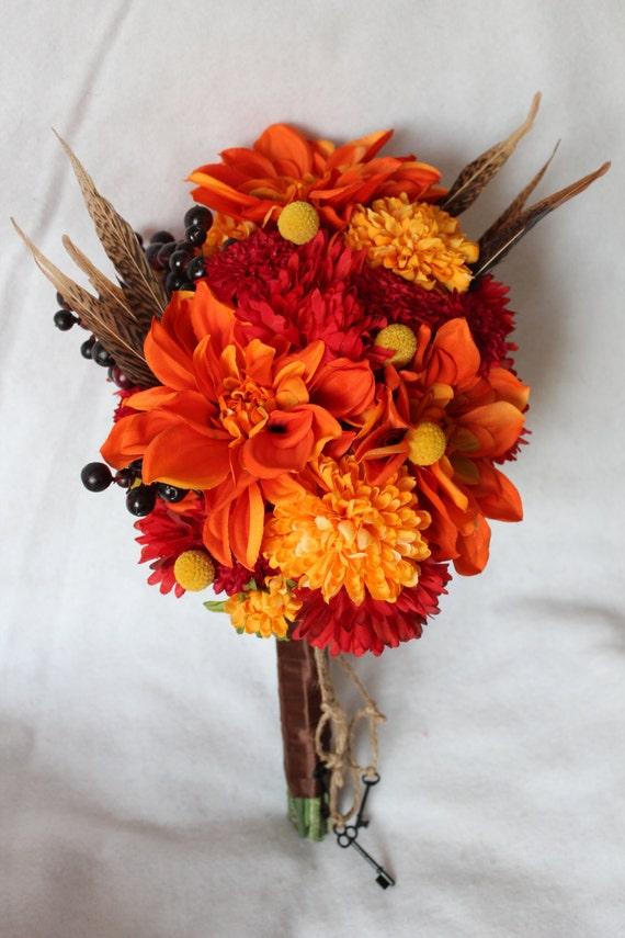 Fall Silk Flower Bridal Bouquet With Dahlia Berries Pom Pom Etsy