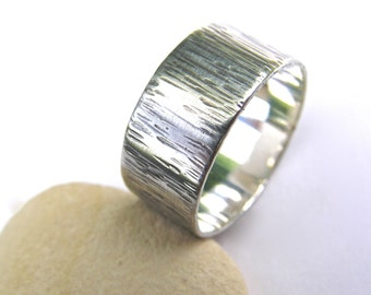 Sterling silver bark texture ring, mens ring, textured silver ring, handmade silver ring, oxidised silver ring, nature jewellery, Dorset