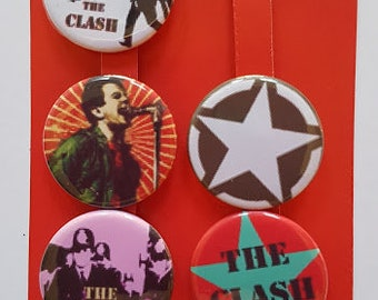 CLASH LOGO 2  BUTTON BADGE 25mm THE CLASH  STRAIGHT TO HELL