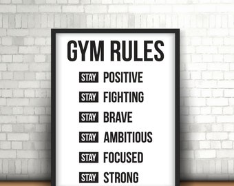 Gym Rules   Printable Art   Digital Download 11 x 14 art