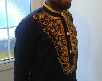 Medium navy blue and gold embroidered shirt