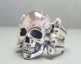 Sterling Silver Skull And Bones Ring