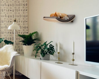 Minimalistic Wooden Pet Furniture, Premium Quality Floating Perch, Wall Mounted Designer Curved Cat Shelf, Perfect Gift for Crazy Cat Lover