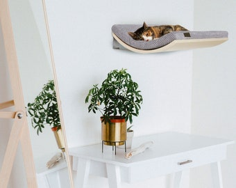 Minimalistic Wooden Kitty seat, Designer Pet Furniture, Wall Mounted Designer Curved Cat Shelf, Premium Quality Floating Perch