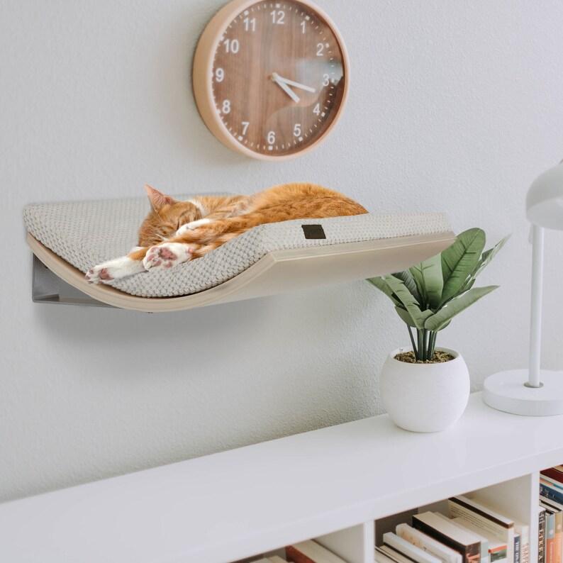 Wall Mounted Designer Curved Cat Shelf Modern Floating Shelf image 0