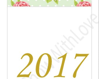 A5 2017 Two Page Monthly Calendar - Mint Floral