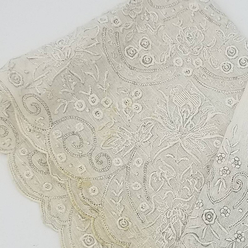 Heavily Embroidered Bridal Appenzell Handkerchief