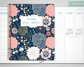 2021 2022 teacher planner 7x9 2021-2022 planner teacher lesson plan TEACHER PLANNER - TABS weekly calendar agenda / navy pink gold floral