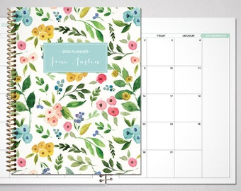 2021 2022 MONTHLY planner / 12 month calendar / choose your start month / 2021-2022 month at a glance planner / colorful watercolor floral