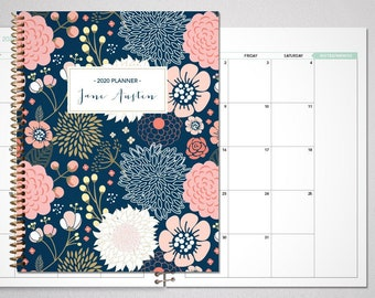 2021 2022 MONTHLY planner / 12 month calendar / choose your start month / 2021-2022 month at a glance planner / navy pink gold floral