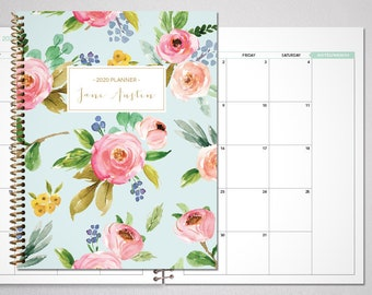 2021 2022 MONTHLY planner / 12 month calendar / choose your start month / 2021 month at a glance planner / blue pink gold watercolor floral
