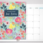 2020 MONTHLY planner / 12 month calendar / choose your start month / 2019-2020 month at a glance planner MAG / blue spring flowers