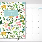 2020 MONTHLY planner / 12 month calendar / choose your start month / 2019-2020 month at a glance planner MAG / colorful watercolor floral