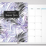 2019 MONTHLY planner with TABS / 12 month calendar / choose your start month / 2019 2020 month at a glance MAG / purple tropical palms