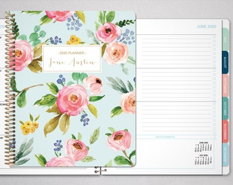 planner 2021 custom planner   12 month planner   student planner HORIZONTAL LAYOUT weekly calendar   blue pink gold watercolor floral