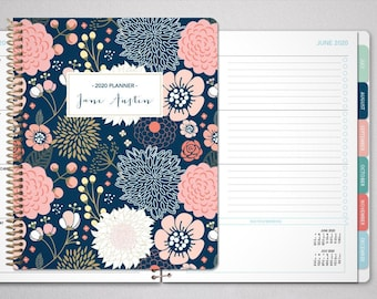 planner 2021 | 12 month planner | student planner HORIZONTAL LAYOUT weekly calendar | navy pink gold floral as seen on dr oz magazine