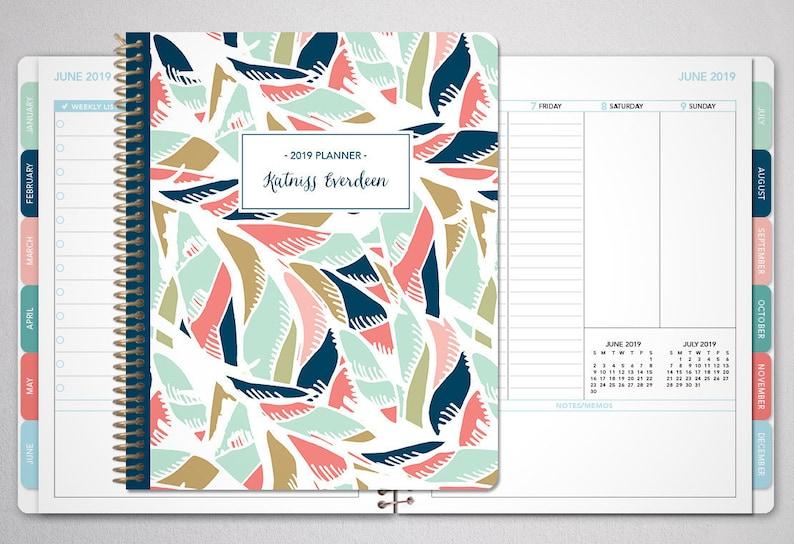 Calendar February 2020 Verticale 2019 planner custom 12 month planner student planner   Etsy