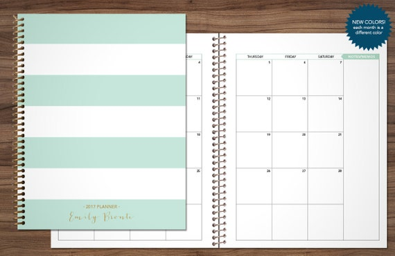 monthly planner 2018 12 month calendar choose your start etsy