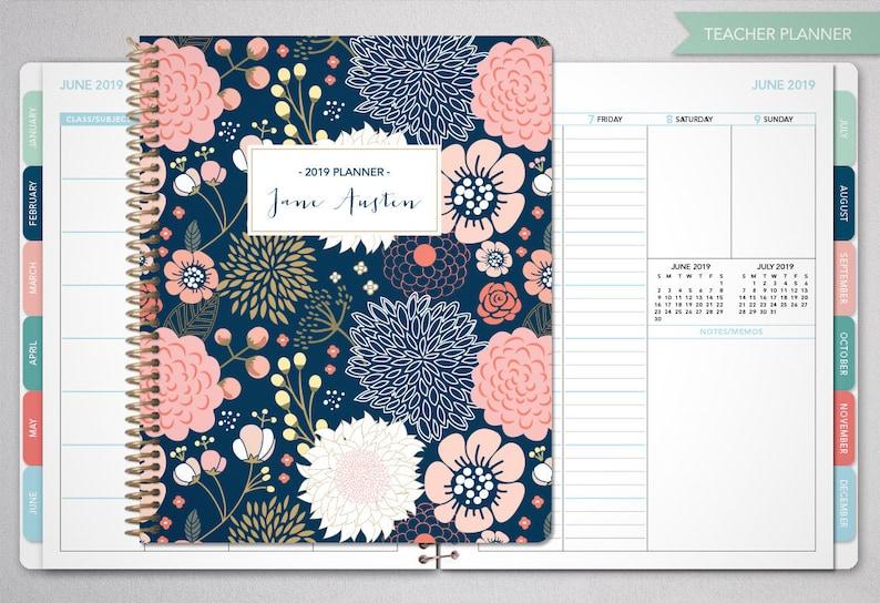 Calendario Allergie 2020.2019 2020 Insegnante Planner 2019 2020 Planner Insegnante Lezione Piano Maestro Planner Agenda Calendario Settimanale Tabs Marina Oro Floreale