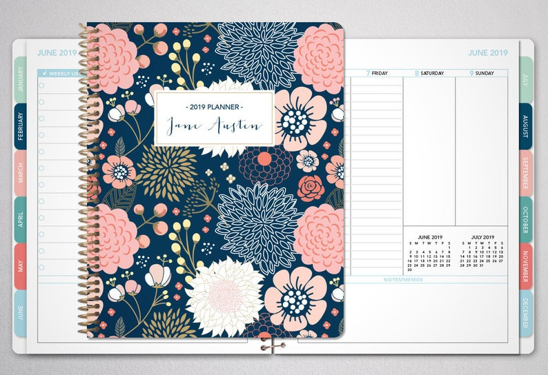 2019 planner custom | 12 month planner | student planner VERTICAL LAYOUT  weekly calendar agenda daytimer / navy pink gold floral