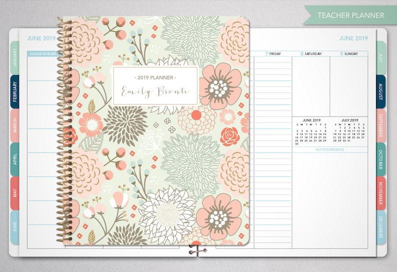 Calendario Allergie 2020.2019 2020 Insegnante Planner 2019 2020 Planner Insegnante Lezione Piano Maestro Planner Agenda Calendario Settimanale Tabs Salvia Oro Floreale