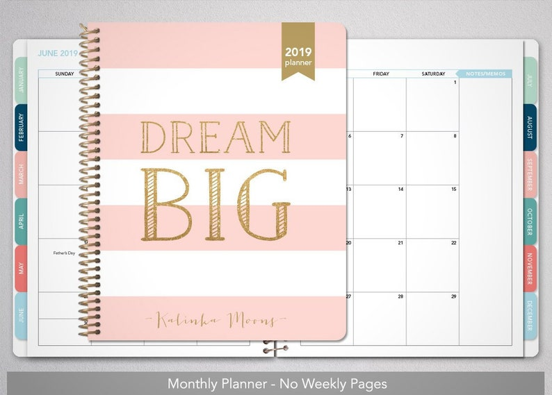 June Games With Gold 2020.2020 Monthly Planner With Tabs 12 Month Calendar Choose Your Start Month 2019 2020 Month At A Glance Mag Pink Gold Stripes Dream Big