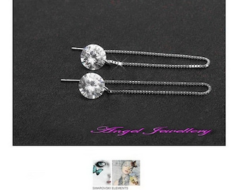 New Handmade Dangle Zircon Earrings Clear Crystal Sterling Silver 925 For Pierced Ears Perfect Gift For Ladies