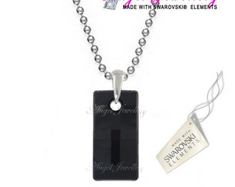 New Unique Military Man's Black Crystal Dog Tag Necklace With Swarovski Hematite Crystal Pendant Ideal Father's Days Gift