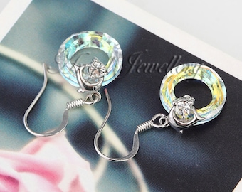 Circle Cut Swarovski Crystal Elements Earrings Explode With Diamond Touch Light Effect