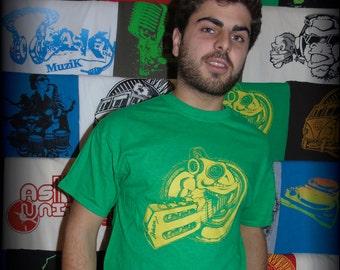 "T-shirt ASKAN UNITED ""Chameleon"" - Tee shirt Antique green - yellow ink"