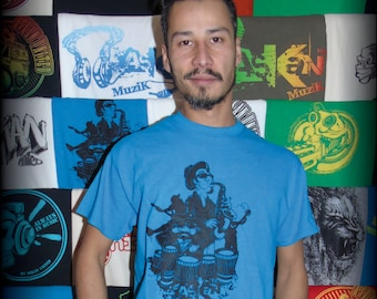 "T-shirt ASKAN UNITED ""Musicians"" - Tee shirt blue Antique - black ink"