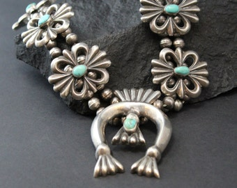 Turquoise Squash Blossom Necklace, Sand Cast Squash Blossom, Navajo Turquoise, Naja Necklace, Native American Jewelry