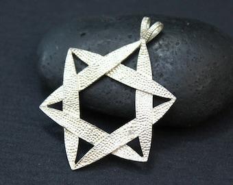 Sterling Star of David Pendant, Star Necklace, Jewish Star Pendant, Textured Sterling Silver Pendant Signed JC Ferrara