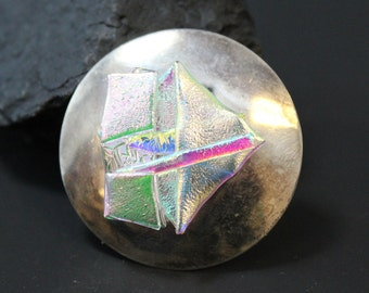 Sterling Silver Hand Signed Dichroic Art Class Brooch Pin with Optional Pendant