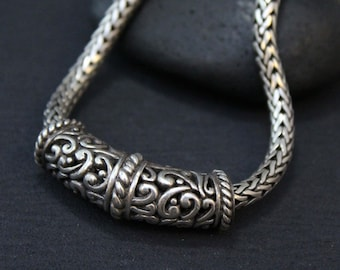 Heavy Sterling Balinese Necklace, Filigree Silver, Sterling Slide Pendant, Thick Sterling Chain,