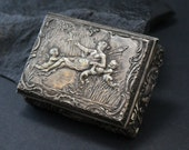 Antique Engraved 900 Silver Embossed French Trinket Snuff Jewelry Box with Angels and Cherubs