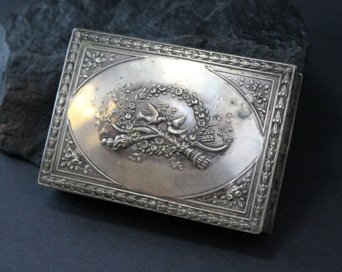800 Silver Antique Jewelry Box with Bird and Flower Engravings
