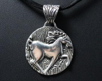 Sterling Silver Chinese Zodiac Year of the Horse Pendant