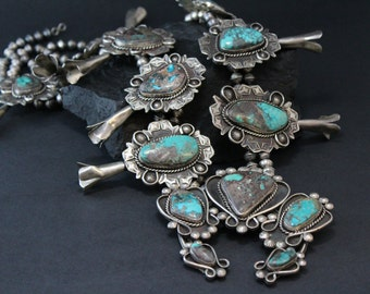 Old Pawn Coin Silver Turquoise Squash Blossom, Native American Chief Squash Blossom, Navajo Warrior Necklace / Indian Sterling Jewelry