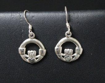 Sterling Silver Claddagh Dangle Earrings, Sterling Claddagh Earrings, Irish Earrings, Irish Jewelry, Sterling Silver Claddagh Jewelry