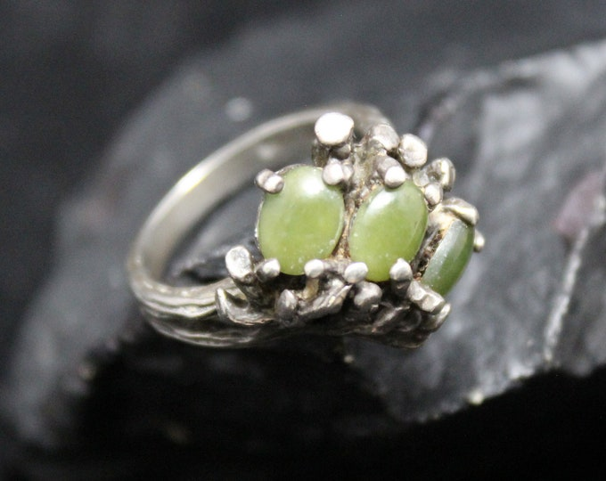 Vintage Sterling Silver Dome Ring, Green Cabochon Gemstones, Textured Tree Branch Looking Ring, Size 5.75