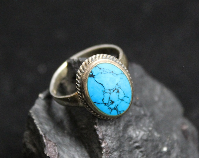 Sterling Silver Oval Turquoise Gemstone Ring, Oval Turquoise Ring, Sterling Silver Boho Ring, Turquoise Matrix Ring