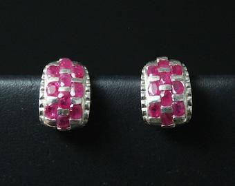 Sterling Silver Ruby Gemstone Earrings, Ruby Jewelry, Sterling Ruby Jewelry, Red Gemstone Earrings, Sterling Silver Half Hoop Earrings