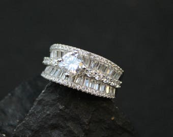 Sterling Silver Baguette CZ Solitaire Statement Ring, Sterling Bling Ring, Sterling Silver Baguette Ring, Sterling Fake Diamond Ring